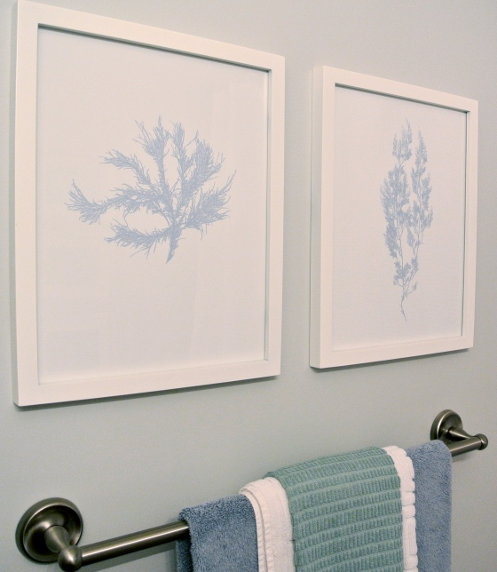 My sea life silhouette prints were inspired by Crate and Barrel.